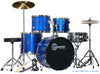 Full Size Metallic Blue 5 Piece Adult Drum Set Cymbals Sticks Stool
