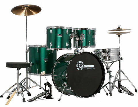 Full Size Metallic Green 5 Piece Adult Drum Set Cymbals Stool