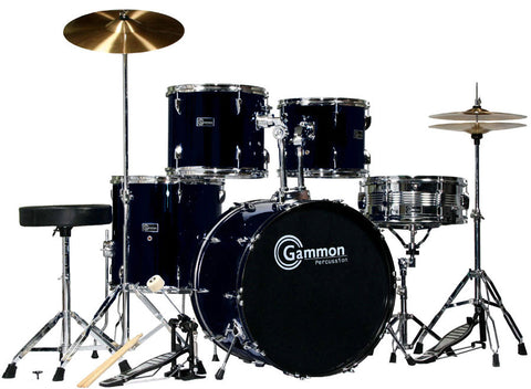 Full Size Black 5 Piece Adult Drum Set With Cymbals Sticks Stool