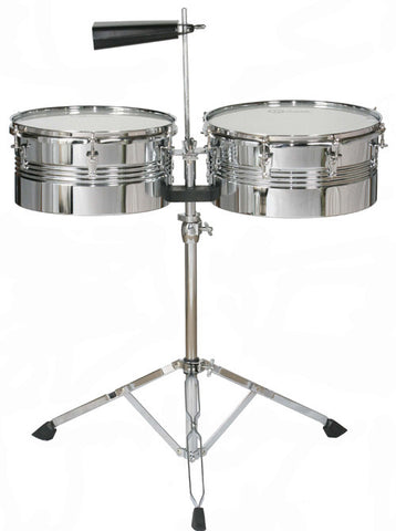 "Timbales 13"" 14"" with Stand Sticks and Cowbell"