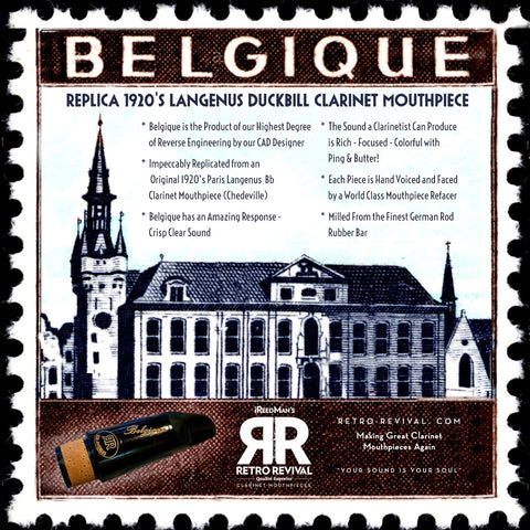 """Belgique"" Replica 1920's Gustave Langenus Duckbill Bb Clarinet Mouthpiece (Paris Ched Blank.)"