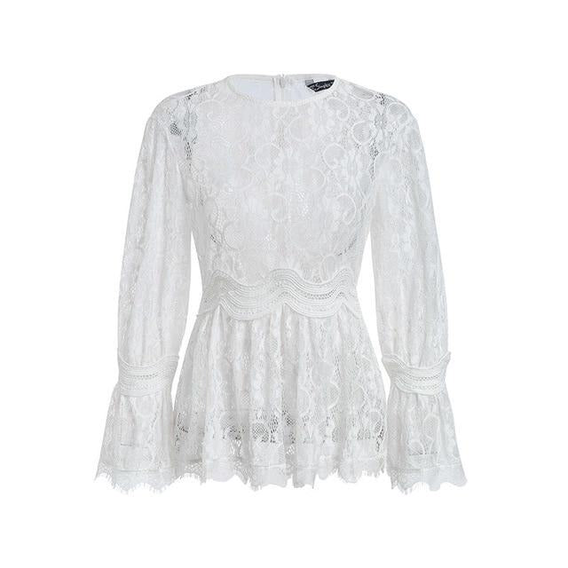 Lace embroidery peplum blouse
