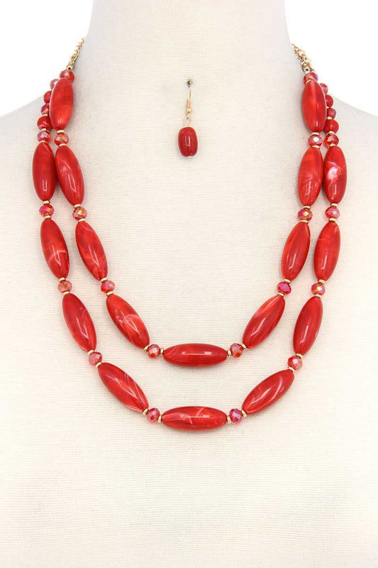 Oval Bead Layered Necklace