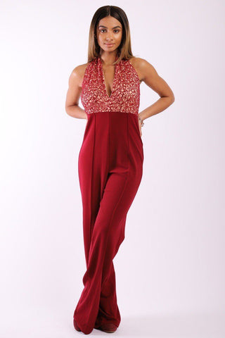 Solid Jumpsuit With Sequined Crochet Lave Halter Top - LockaMe Designs