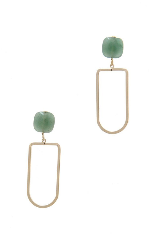 Natural Stone Metal Drop Earring - LockaMe Designs