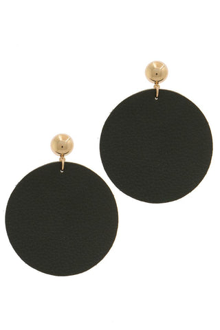 Leather Circle Post Drop Earring