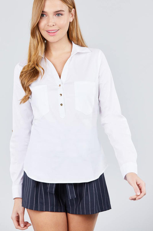 3/4 Roll Up Sleeve Front Two Pocket W/button Detail Stretch Shirt - LockaMe Designs