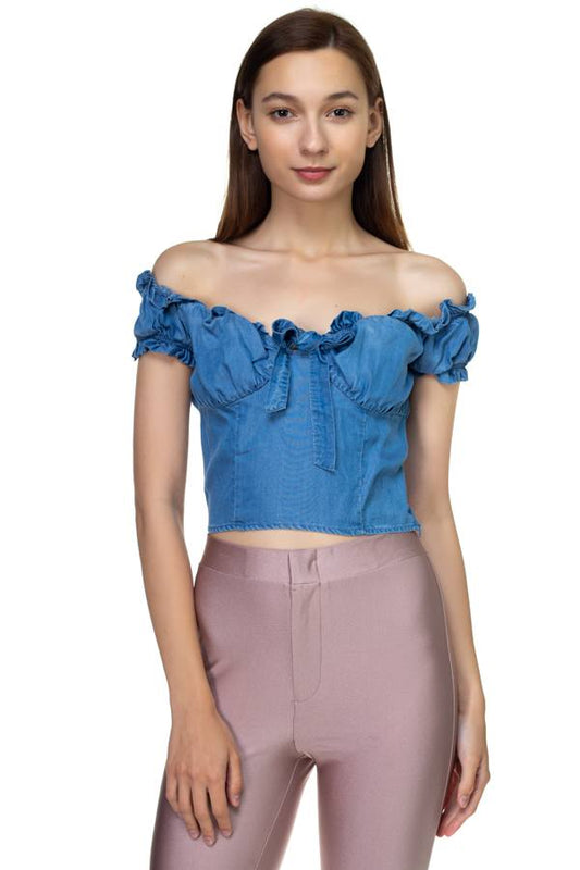 Front Ribbon Tie Off Shoulder Crop Top - LockaMe Designs