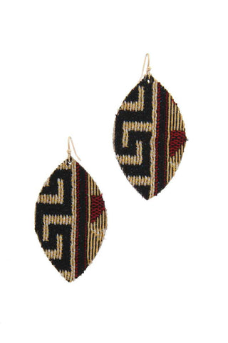 Fabric Pointed Oval Drop Earring - LockaMe Designs