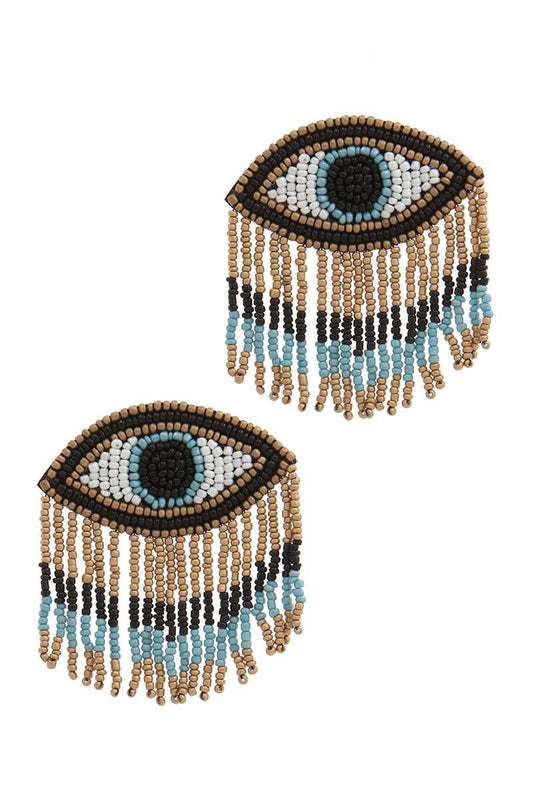 Stylish Evil Eye Drop Fringe Earring - LockaMe Designs