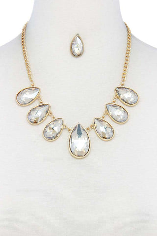 Teardrop Shape Rhinestone Necklace - LockaMe Designs
