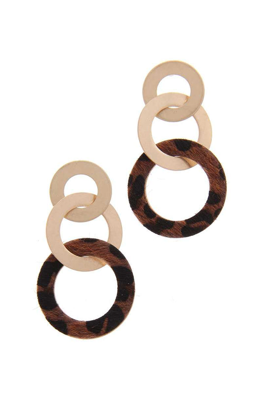 Animal Print Circle Metal Post Drop Earring - LockaMe Designs