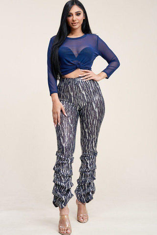 Sequin High Rise Stacked Pant And 3/4 Sleeve Power Mesh Top Two Piece Set - LockaMe Designs