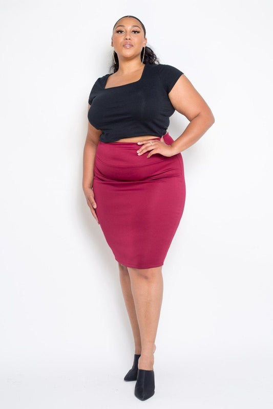 Plus Size Everyday Basic High Waist Pencil Midi Skirt - LockaMe Designs