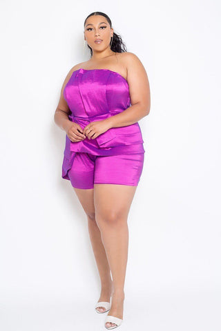 Plus Size Strapless Peplum Romper - LockaMe Designs