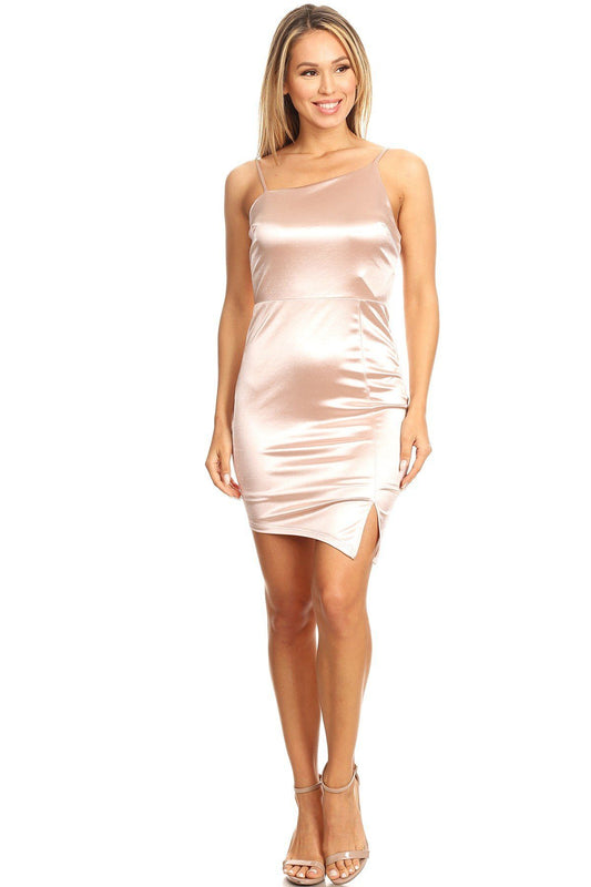 Solid Mini Dress With Bodycon Fit, Side Slit, And Spaghetti Straps - LockaMe Designs