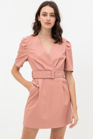 Pleather Dress With Belt Buckle Across Waist. Short Sleeve With V Neckline - LockaMe Designs