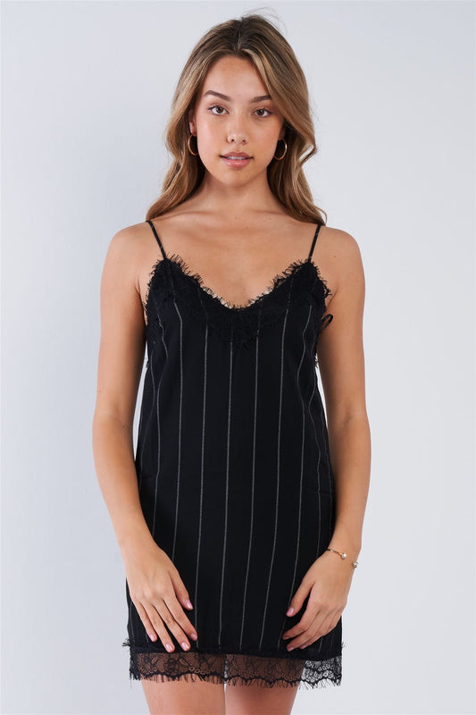 Black Pinstripe Lace Trim Slip Mini Dress