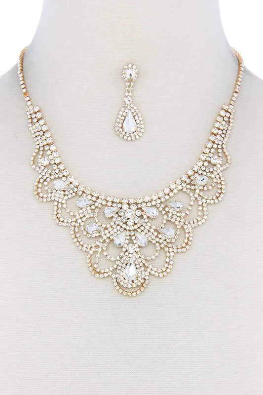 Rhinestone Bib Necklace - LockaMe Designs