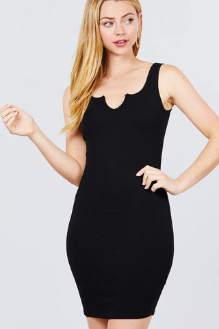 Sleeveless Deep Round V-shape Neck Heavy Rib Mini Dress