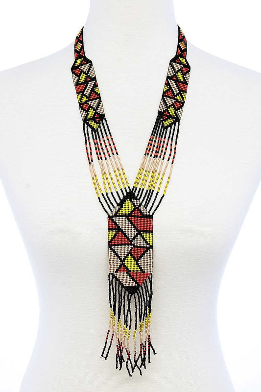 Trendy Ancient Pattern Beaded Long Necklace - LockaMe Designs