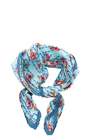 Designer Floral Print Pleated Bandana Scarf