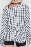 White Black Plaid Asymmetrical Front Button Down Top - LockaMe Designs