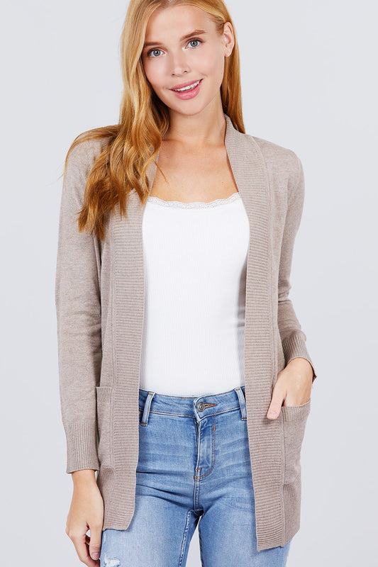 Long Sleeve Rib Banded Open Sweater Cardigan W/pockets - LockaMe Designs