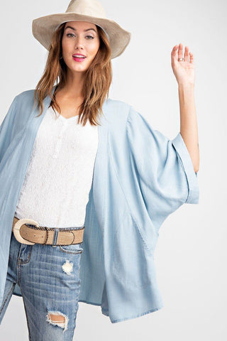 Soft And Lightweight Dolman Slvs Washed Denim Linen Look Open Cardigan - LockaMe Designs