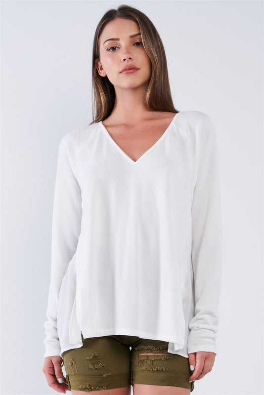 Off-white Loose Fit Long Sleeve V-neck Mesh Detail Tunic Pullover Top - LockaMe Designs