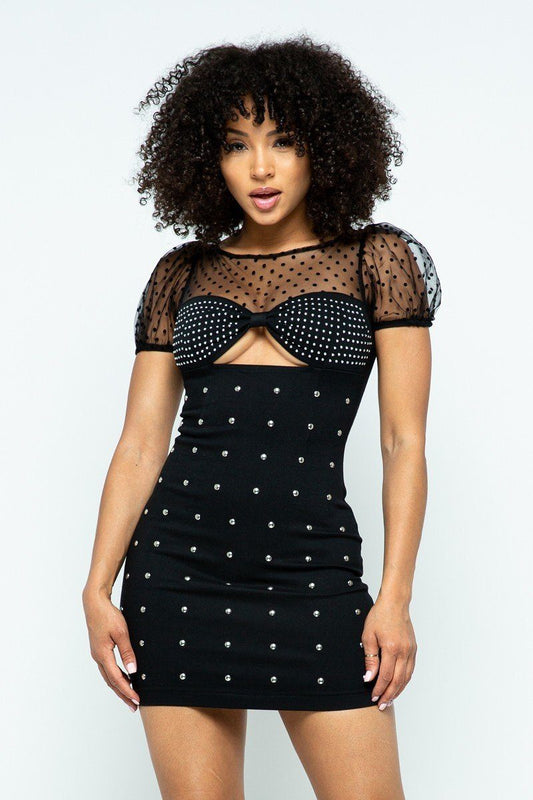 Stretchable Tight Mini Dress With Hot-fix Details And Center Back Open Zippered - LockaMe Designs