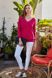 V Neck 3/4 Sleeve Side Slit Hi-lo Sweater - LockaMe Designs