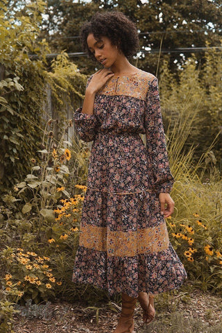 A Floral-print Woven Midi Dress - LockaMe Designs
