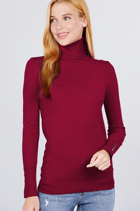Long Sleeve With Metal Button Detail Turtle Neck Viscose Sweater - LockaMe Designs