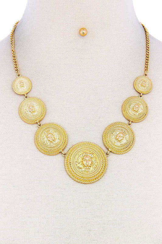Lion Head Circle Linked Necklace - LockaMe Designs