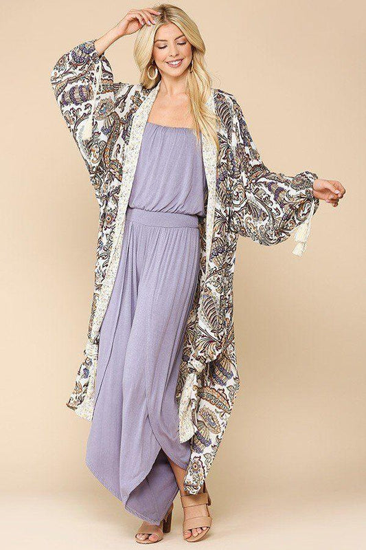 Mix-printed Open Front Kimono With Side Slits - LockaMe Designs