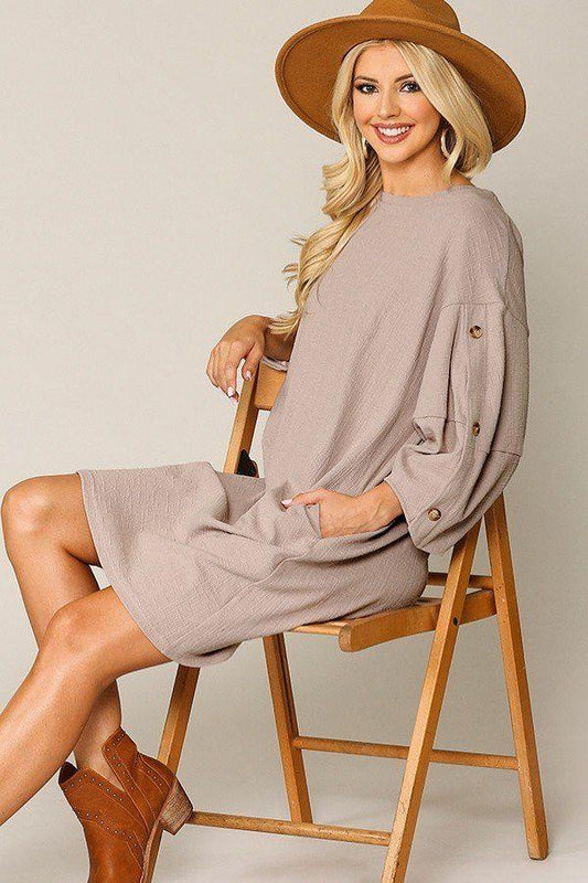 Textured Button Accent Puff Sleeve Side Pockets Shift Dress - LockaMe Designs