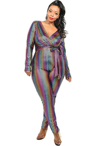 Plus Sequin Striped Surplice Jumpsuit