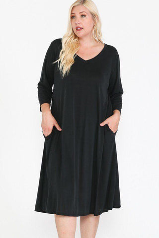 V Neck Hidden Pocket Swing Dress - LockaMe Designs