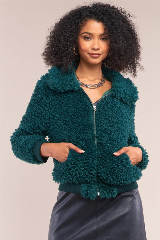 Hunter Green Long Sleeve Zip Front Faux Fur Bomber Jacket - LockaMe Designs