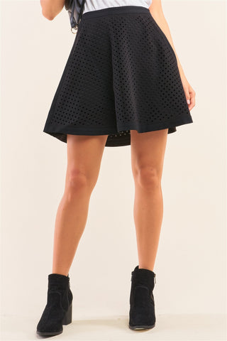 Black Laser Cut Scuba Skater A-line Mini Skirt - LockaMe Designs