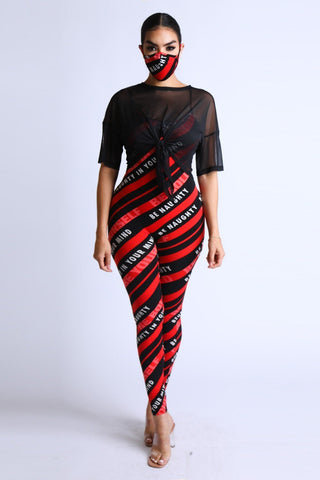 Diagonal Striped Jumpsuit With Mesh Set - LockaMe Designs