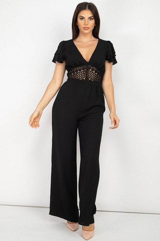 V-neck Lace Jumpsuit - LockaMe Designs