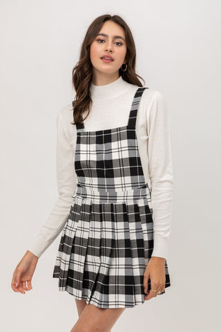 Woven Stretch Plaid Pleated Skirtall - LockaMe Designs
