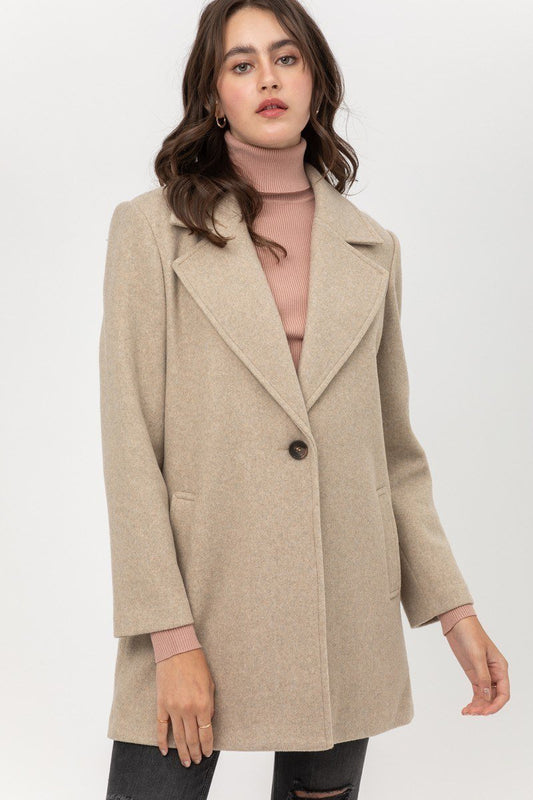 Fleece Single Breasted Coat - LockaMe Designs