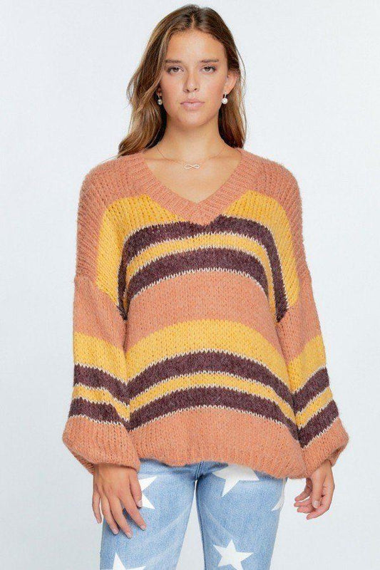 V-neck Cozy Thick Knit Stripe Pullover Sweater - LockaMe Designs