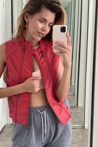 Red Vegan Leather Faux Fur Lining Triple Zip-up Detail Moto Vest - LockaMe Designs