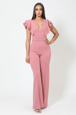 Layered Ruffle Shoulder Jumpsuit W/ Buckle Detail - LockaMe Designs