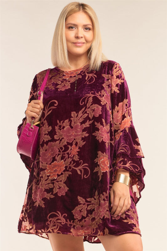 Plus Size Velvet Floral Pattern Long Angel Sleeve Round Neck Relaxed Fit Mini Dress - LockaMe Designs