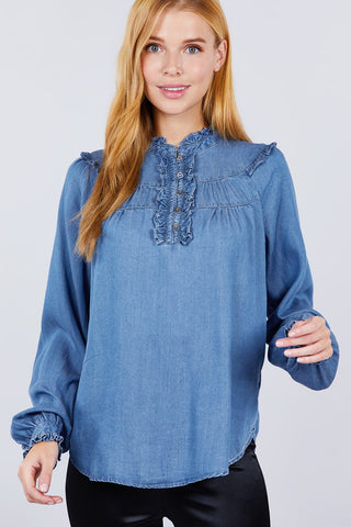 Frill Detail Tencel Top - LockaMe Designs